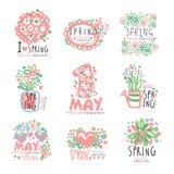 5月1日集合原始的设计 春天假日,例证5月一日,国际劳动节五颜六色的手拉的传染媒介 库存照片
