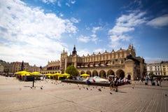 2017年7月10日,克拉科夫,波兰-老市中心,克拉科夫市场Squa 免版税库存图片