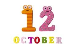 10月12日,在白色背景、数字和信件 免版税库存图片