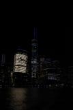 2017年5月10日,曼哈顿,纽约 高盛,世界金融中心和世界贸易中心一号大楼在晚上 免版税库存照片