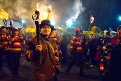 2015年10月17日,海斯廷斯,英国,海斯廷斯篝火队伍 库存图片