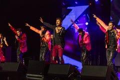 2016年10月15日,爱迪生, NJ - Prabhu天界和印地安舞蹈家为唐纳德・川普执行在爱迪生新泽西印度印地安美国 库存照片