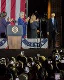 2016年11月7日,美国独立纪念馆,菲尔 PA -比尔和切尔西・克林顿Mezvinsky和第一米歇尔・奥巴马夫人欢迎主持 图库摄影