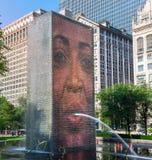 2016年7月18日,芝加哥,美国 在千禧公园的冠喷泉 免版税库存照片
