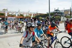 2017年5月28日,阿尔科文达斯,西班牙:传统自行车游行 免版税图库摄影