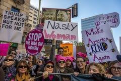 2017年1月21日,洛杉矶,加州 750,000参加妇女的3月,抗议的活动家唐纳德J 王牌在最大国家的 图库摄影