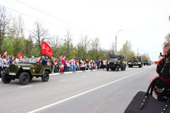 2017年5月9日, 10:36 :32俄罗斯Dimitrovgrad游行城市致力天尝试 图库摄影