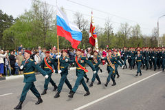 2017年5月9日, 10:36 :32俄罗斯Dimitrovgrad游行城市致力天尝试 免版税库存照片
