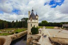 2017 7月23日, Chenonceau城堡  法国 夫人中世纪城堡的门面  Chenonce皇家中世纪城堡  免版税库存照片