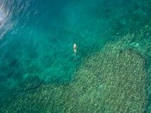 2016年5月15日, Haleiwa夏威夷 鸟瞰图未知站立冲浪在海洋的桨房客 免版税图库摄影