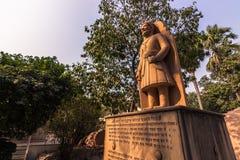 2014年10月27日:一个印度神的雕象在Laxminarayan te的 免版税库存照片