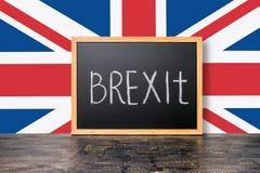 6月23日:与旗子和handwriti的Brexit英国欧盟公民投票概念 免版税库存照片