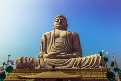 2014年10月30日:伟大的菩萨雕象在Bodhgaya,印度 免版税图库摄影