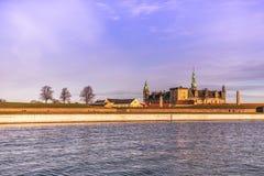 2016年12月03日:克伦堡城堡背景视图在Helsing 免版税库存照片