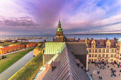 2016年12月03日:克伦堡城堡,丹麦屋顶  库存图片