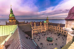 2016年12月03日:克伦堡城堡,丹麦庭院  免版税库存图片