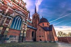 2016年12月04日:圣卢克大教堂在罗斯基勒, Denm 免版税库存照片