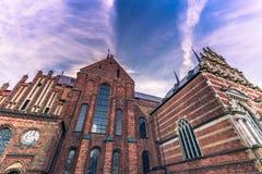 2016年12月04日:圣卢克大教堂的边在Roskil 免版税库存照片