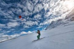 2016年2月19日:圣盛生瑞士 IMan实践snowki 免版税图库摄影