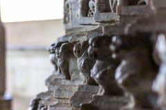 2014年11月08日:墙壁的详细的雕刻在Jai里面的 图库摄影