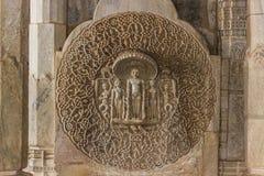 2014年11月08日:墙壁的详细的雕刻在Jai里面的 库存图片