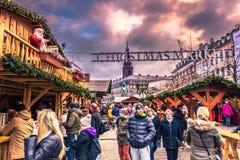 2016年12月05日:对圣诞节市场的入口在中央C 免版税库存图片