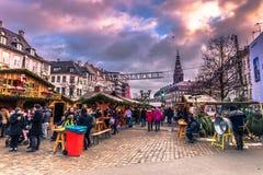 2016年12月05日:对圣诞节市场的入口在中央C 免版税图库摄影