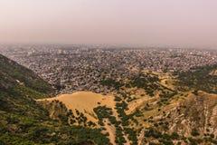 2014年11月04日:斋浦尔市全景从琥珀色的堡垒的, 免版税图库摄影