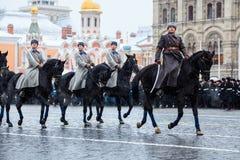 2016年11月05日:游行的礼服排练,热忱对1941年11月7日在红场在莫斯科 免版税库存照片