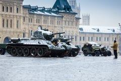 2016年11月05日:游行的礼服排练,热忱对1941年11月7日在红场在莫斯科 免版税图库摄影