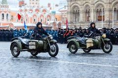 2016年11月05日:游行的礼服排练,热忱对1941年11月7日在红场在莫斯科 免版税库存图片