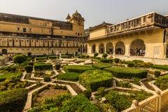 2014年11月04日:琥珀色的堡垒的庭院在斋浦尔,印度 库存照片