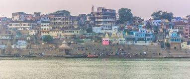 2014年10月31日:瓦腊纳西,印度全景  免版税库存图片