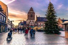 2016年12月04日:罗斯基勒,丹麦的中心 免版税库存图片