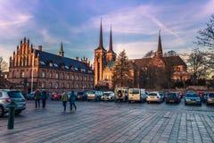 2016年12月04日:罗斯基勒,丹麦的中心 免版税图库摄影