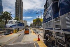 2016年5月06日:美国国家铁路公司#460和美国国家铁路公司#456 免版税图库摄影