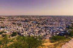 2014年11月05日:蓝色市的全景乔德普尔城,印度 免版税库存照片