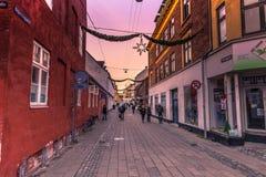 2016年12月03日:赫尔新哥,丹麦的圣诞节装饰 免版税库存照片