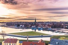 2016年12月03日:从克伦堡城堡看见的赫尔新哥,丹麦 图库摄影