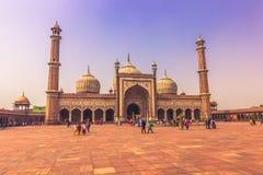 2014年10月28日:Jama Masjid清真寺在新德里,印度 库存照片