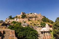 2014年11月08日:Kumbhalgarh堡垒复合体的全景, Ind 免版税图库摄影