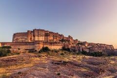 2014年11月05日:Mehrangarh堡垒在乔德普尔城,印度 图库摄影