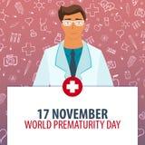 11月17日 世界未成熟天 医疗假日 传染媒介医学例证 免版税库存照片