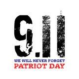 9月11日 为美国假日,爱国者天导航llustration 美国人姊妹楼国家标志, 11 9设计 免版税图库摄影