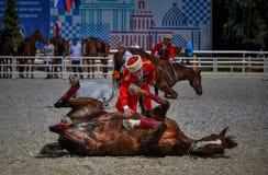 2015年7月25日 克里姆林宫骑术学校的礼仪介绍VDNH的在莫斯科 免版税图库摄影