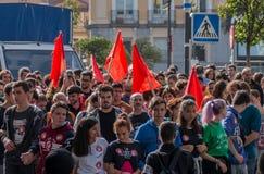 2016年10月26日-前进在抗议的学生反对教育政治在马德里,西班牙 库存图片