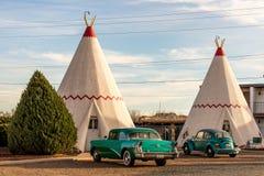 2014年12月21日-圆锥形小屋旅馆, Holbrook, AZ,美国:圆锥形帐蓬hote 免版税库存照片