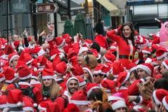 2014年12月21日-圣诞老人天伦敦 免版税图库摄影