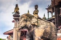 2014年8月19日-大象雕象在Patan,尼泊尔 免版税库存图片