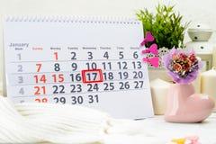 1月17日 天17在白色日历的月 天孩子 图库摄影